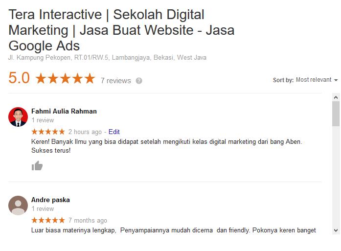 Ulasan dari pengguna sebagai salah satu teknik optimasi Google My Business
