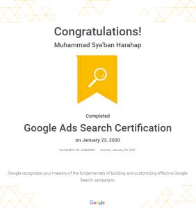 sertifikat kursus google ads search