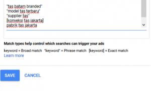 Optimasi Google Ads - merubah tipe keyword