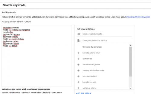 Optimasi Google Ads - menambah keyword baru
